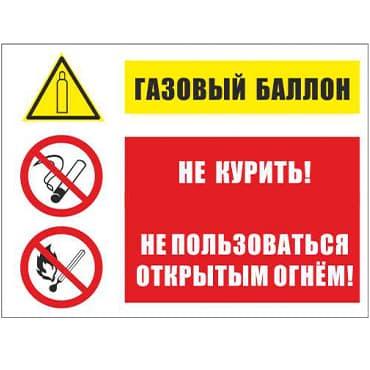 Знак KZ 14 Газовый баллон. Не курить. Не пользоваться открытым огнем