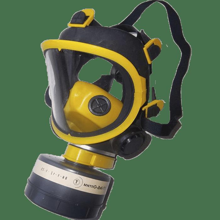 Желтый противогаз с панорамной маской