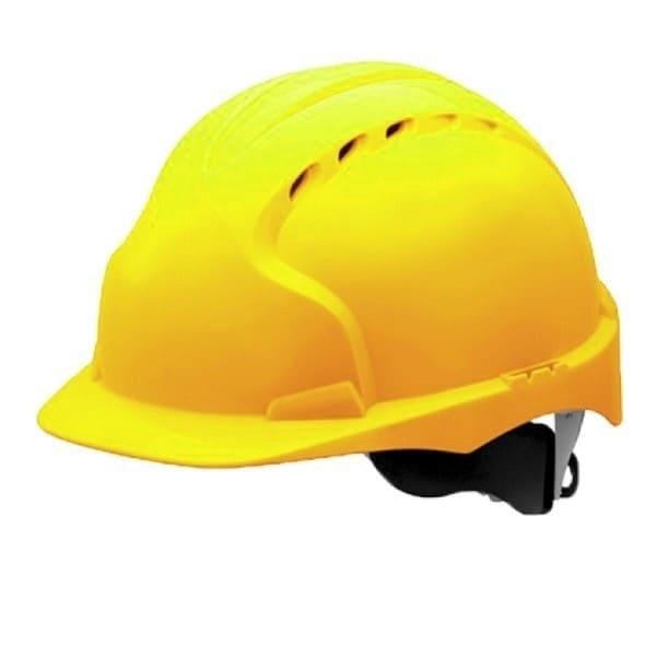 Каска строительная желтая с храповиком