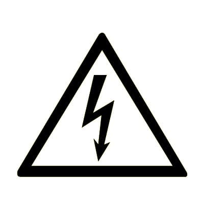 W08 Опасность поражения электрическим током, белый фон