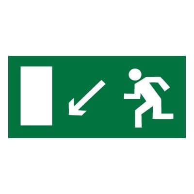 E08 Направление к эвакуационному выходу налево вниз